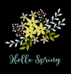 spring greeting card with embroidery arrangement vector image