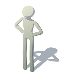 stick man standing icon isometric style vector image