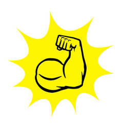 Strong bodybuilder biceps flex arm icon vector