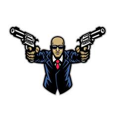 Suited gentlemen with pair pistols logo vector