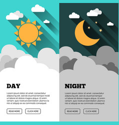 Sun moon stars banner day and night time vector