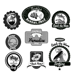 Surfing emblems black vector