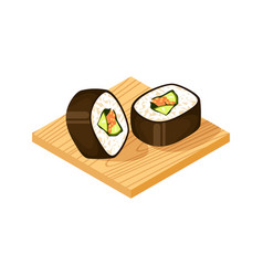 sushi roll on wooden plate icon vector image
