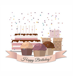 sweet cupcakes birthday cake and gifts vector image