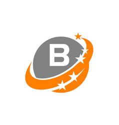 Swoosh star solution letter b vector