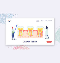 teeth dental care landing page template tiny vector image