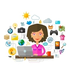 The young woman at the computer on the internet vector