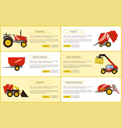 Tractor trailed sprayer set vector
