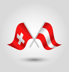 Two crossed swiss and austrian flags vector
