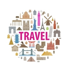 vacation travel icons set vector image