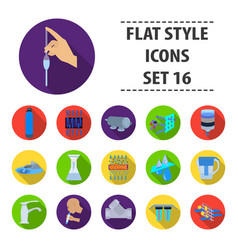 water filtration system set icons in flat style vector image