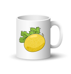 white mug with melon vector image