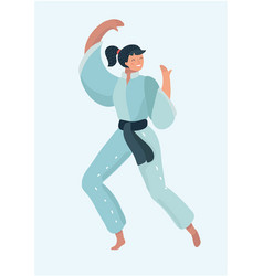 woman dressed in kimono practicing martial arts vector image