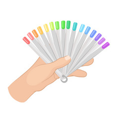 Woman s hand holding color palette of nail vector