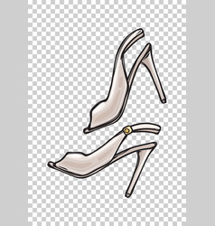 Women s shoes with open toe in cartoon art style vector