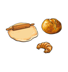 Wooden rolling pin dough bread and croissant vector