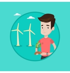 Worker of wind farm holding green small plant vector