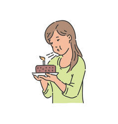 young girl blows candle at chocolate cake vector image