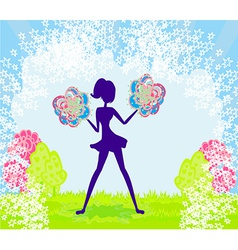 Abstract cheerleader girl poster vector