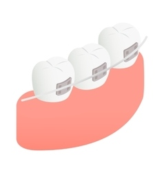Braces on teeth icon isometric 3d style vector image vector image