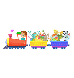 childrens toys in train cartoon vector image