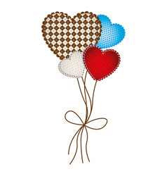 colored figure hearts balloons icon vector image