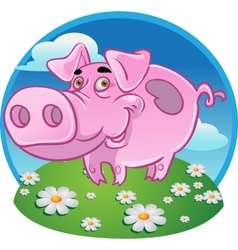 Funny pink pig on color background vector image vector image
