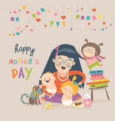 happy mother with her children vector image vector image