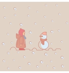 kids children play with snow man winter vector image vector image