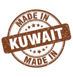 made in kuwait brown grunge round stamp vector image