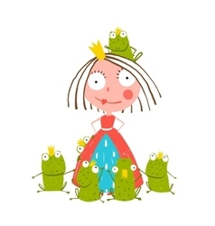 Princess and many prince frogs portrait colored vector