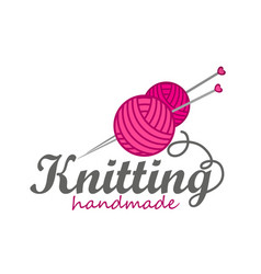 knitting logo elements vector image vector image