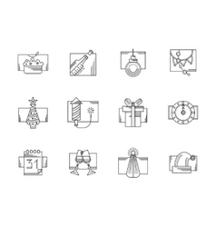 New Year party black line icons set vector image vector image