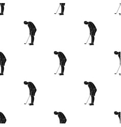 Golfer before kick icon in black style isolated on vector
