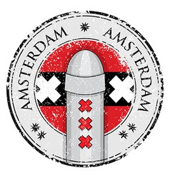 Grunge stamp with bollard symbol of amsterdam vector