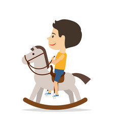 little boy sitting on horse toy vector image vector image