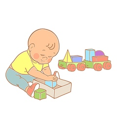 Little lovely baby boy playing with toys vector image vector image