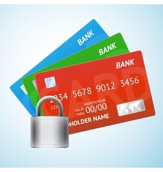 Set of credit card with padlock vector