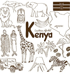 Collection of Kenya icons vector image vector image
