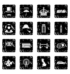 Great Britain set icons grunge style vector image