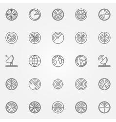 Radar icons set vector image