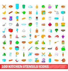 100 kitchen utensils icons set cartoon style vector image