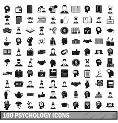 100 psychology icons set simple style vector