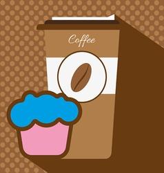 A brown coffee cup with a bean logo vector