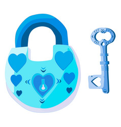a lock with hearts and a key to the ladies heart vector image