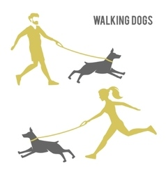A man and a woman walking a dog vector