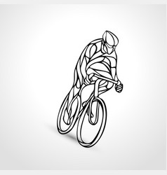 abstract silhouette of bicyclist lineart bike vector image
