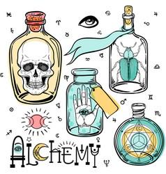 Alchemy symbol icon set spirituality occultism vector