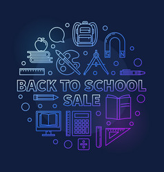 back to school sale round colorful linear vector image