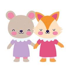 bashower female bear and fox with dress holding vector image